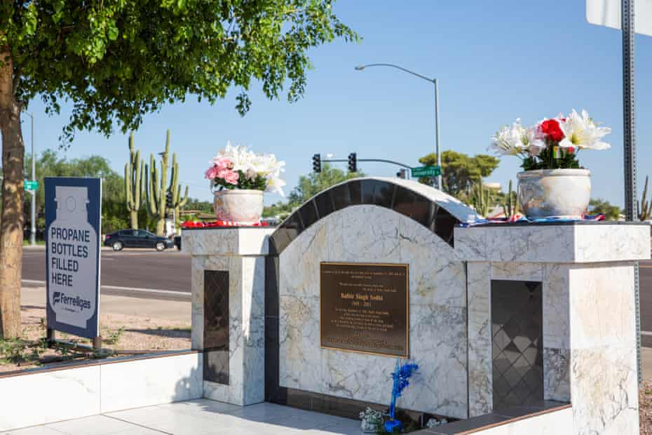 A memorial marks the place where Balbir Singh Sodhi was fatally shot on 15 September 2001 by Frank Silva Roque.