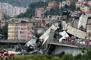 The collapsed Morandi Bridge in Genoa, Italy