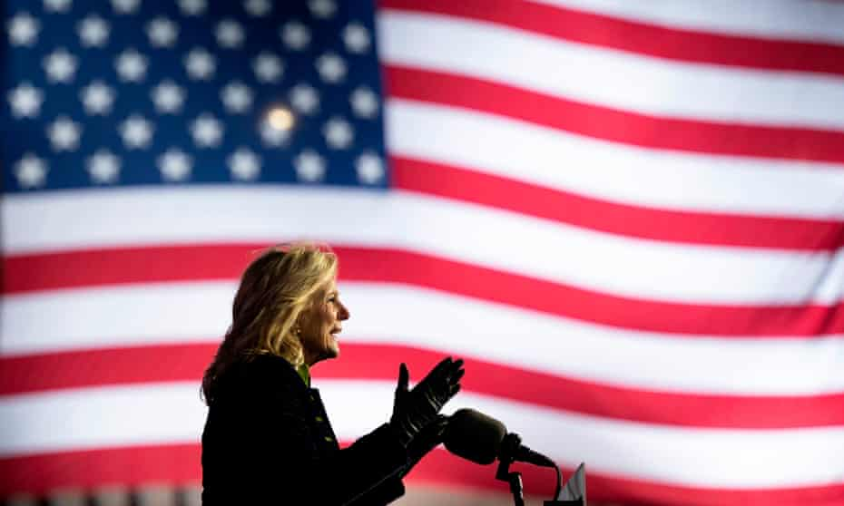Jill Biden speaks during a drive-in rally at Heinz Field in Pittsburgh, Pennsylvania, on 2 November 2020.