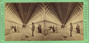 Perspective View of the Carriage Way in the Suspension Bridge, Niagara, c 1865. Unknown US photographer, albumen silver stereograph