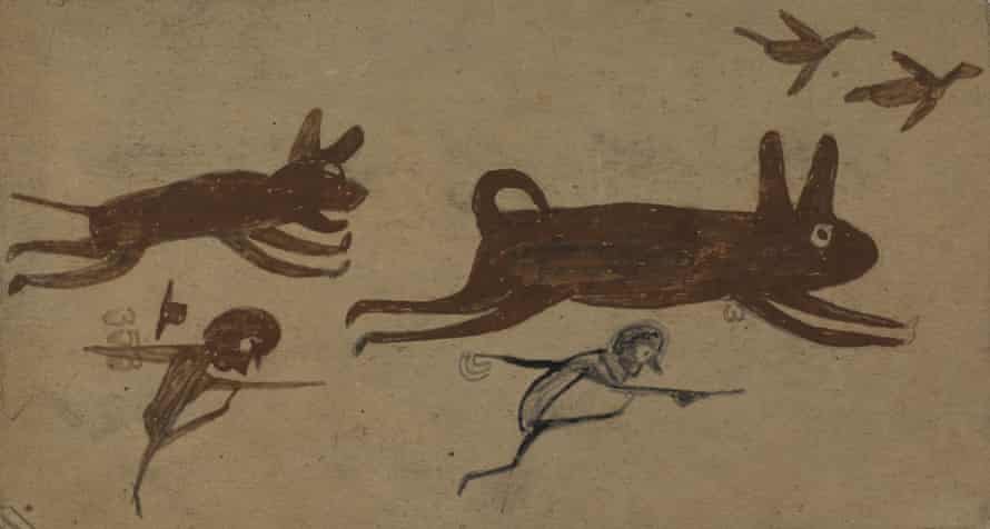 Bill Traylor - Untitled (Chase Scene) From the collection of the Smithsonian American Art Museum