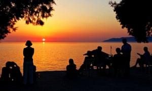 Enjoying a sunset with friends
