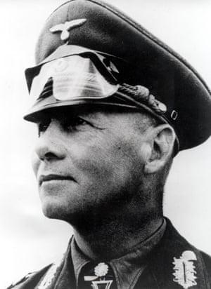 Erwin Rommel is shown at Tobruk in August 1942.