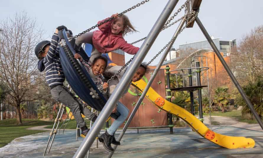 Children in a playground in London.