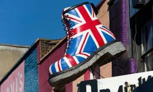 Giant Dr Martens boot at shop in Camden, London.