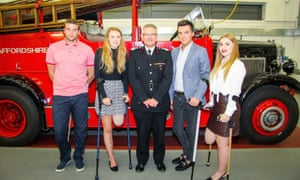 Staffordshire Fire and Rescue Service chief officer Peter Dartford (centre) with crash victims (left to right) Daniel Thorpe, Leah Washington, Joe Pugh and Victoria Balch.