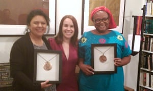 Pictured in 2015, from left to right: the late Berta Cáceres, director of Copinh, Ana Paula Hernandez, Miriam Miranda, director of Ofraneh, after Cáceres and Miranda accepted the Oscar Romero Human Rights award