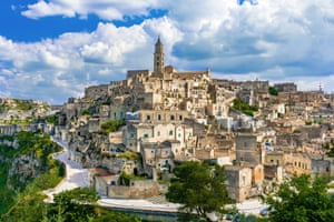 Matera in Basilicata Italy overview of old city