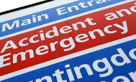 A sign for an accident and emergency department at a hospital