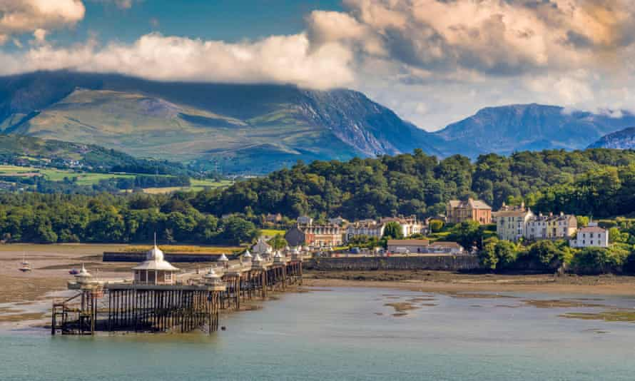 Bangor, north Wales, with the mountains of Snowdonia rising behind.