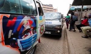Communal taxis in Kenya advertise coronavirus safety.