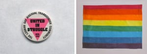 Left: Buttons from the collection of Maggi Rubenstein, 1992. Right: Gilbert Baker's original hand-dyed rainbow flag
