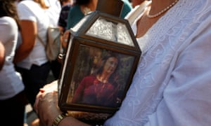 A lantern with a picture of the investigative journalist Daphne Caruana Galizia
