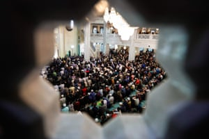 Muslims pray at Cathedral mosque in Moscow, Russia