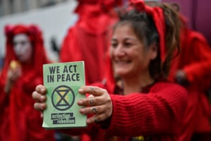 The Extinction Rebellion group says the protests are a non-violent act of civil disobedience