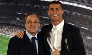 Cristiano Ronaldo in happier times with Real Madrid's president, Florentino Pérez, after signing a contract extension in 2016.