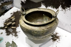 A bronze cooking cauldron found at the bottom of a Welsh lake in 1911. It dates from about 700BC, the early iron age. Fragments of other bronze cauldrons have been found near Stonehenge.