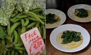 Rachel Roddy's macco di fave e cicoria (broad bean puree with greens)