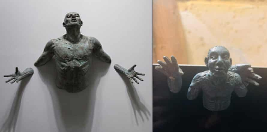 A side by side image of the sculpture pictured in the product's description, and the sculpture he received. The finger has broken off, he says, 'doesn't even attach'.