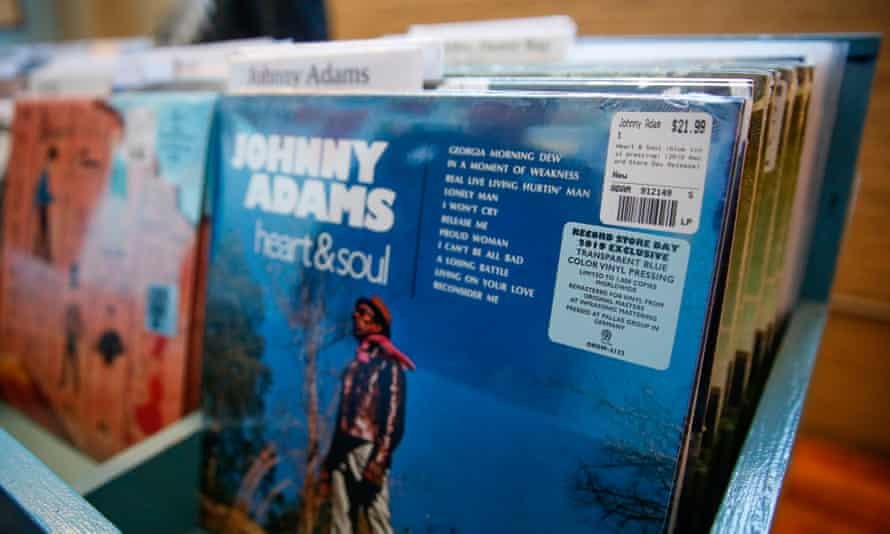 Vinyl on sale in a Chicago record shop.