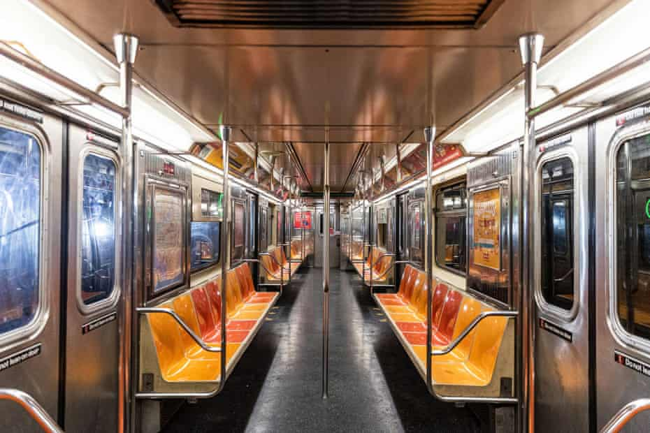 An empty subway train is seen during the outbreak of coronavirus.