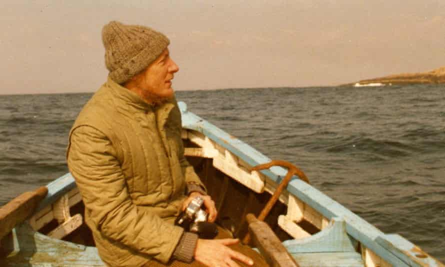 Tim Robinson on a boat to Deer Island in County Clare, Ireland.