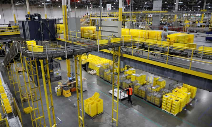 An Amazon fulfillment center is seen in Robbinsville, New Jersey.