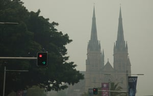 St Mary's Cathedral is seen through the thick smoke.
