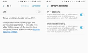 Wifi toggle and wifi and bluetooth scanning settings on a Samsung Galaxy S8 Android smartphone.