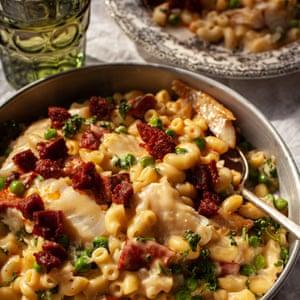 Smoked haddock, pea and chorizo macaroni cheese.