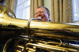 A musician from Knottingley brass band rehearses