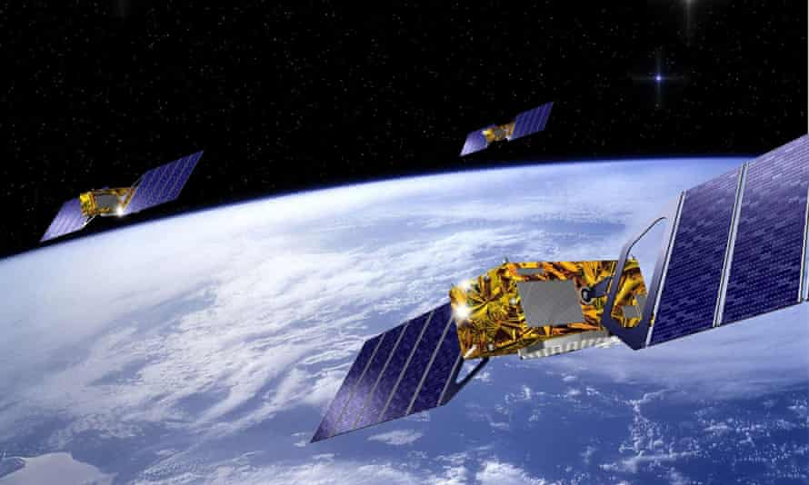Three satellites that form part of the European Galileo navigation system network.