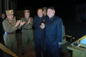 """Kim Jong-un supervises North Korea's second intercontinental ballistic missile test in what it called a warning to the """"beast-like US imperialists""""."""