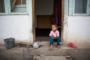 A three-year-old boy in Aravan rayon, Osh Oblast, whose father was jailed in Russia for the accidental death of a colleague on a construction site<br><br>