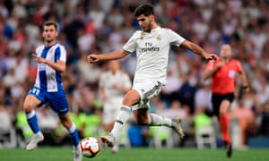 Real Madrid's match-winner Marco Asensio goes on the attack against Espanyol in La Liga