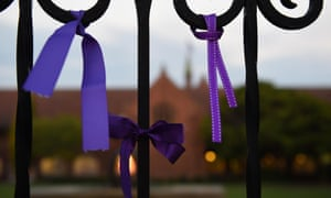 Purple ribbons left at the gates of Knox Grammar as a tribute to victims of abuse.
