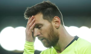 Lionel Messi dejected during the match.