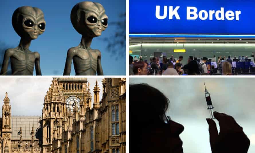 Aliens, UK border controls, Westminster, person holding syringe