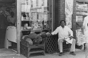 Having a break outside Ali Brothers Grocery shop, Fashion Street 1986.