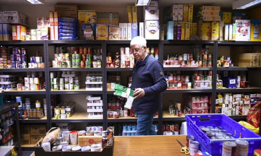 A parcel is prepared at a food bank in Newcastle-under-Lyme, Staffordshire, in January 2021.