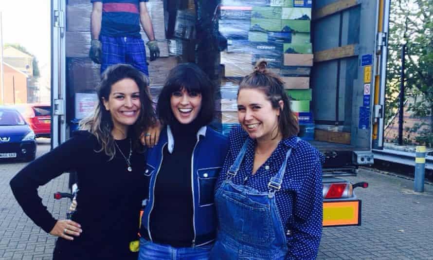 Lliana Bird, Dawn O'Porter and Josie Norton in front of lorry