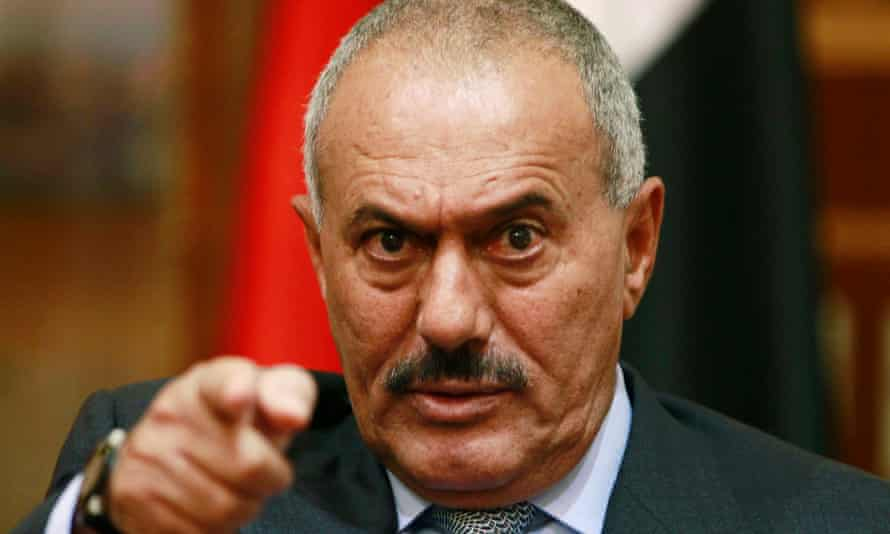 Ali Abdullah Saleh at a press conference in the Yemeni capital Sana'a in 2011. He likened his surviva technique to 'dancing on the heads of snakes'.