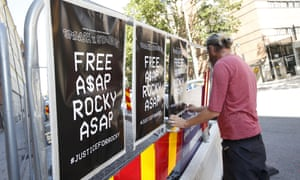 A man displays posters in support of US rapper A$AP Rocky in Stockholm, Sweden, Thursday, 25 July 2019.