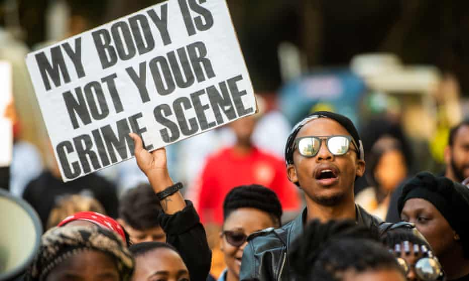South African protesters march against gender-based violence in September 2019 following the rape and murder of UCT student Uyinene Mrwetyana in Cape Town.