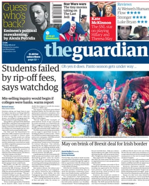 Guardian front page, Friday 8 December 2017