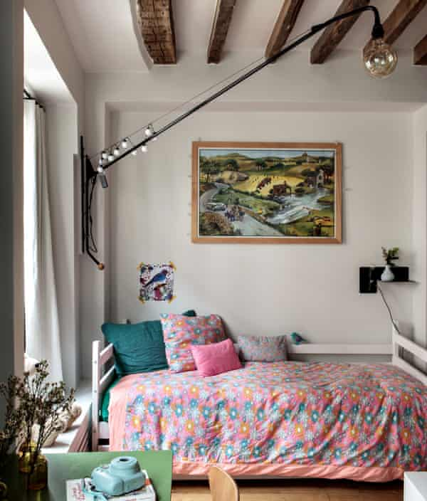 The top floor bedroom of Camille Hernand's maisonette in the Marais district of Paris