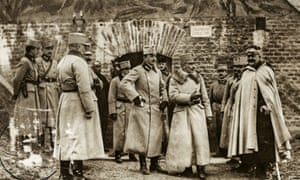 Archduke Karl (centre) tours Przemśyl's fortifications on 1 November 1914.