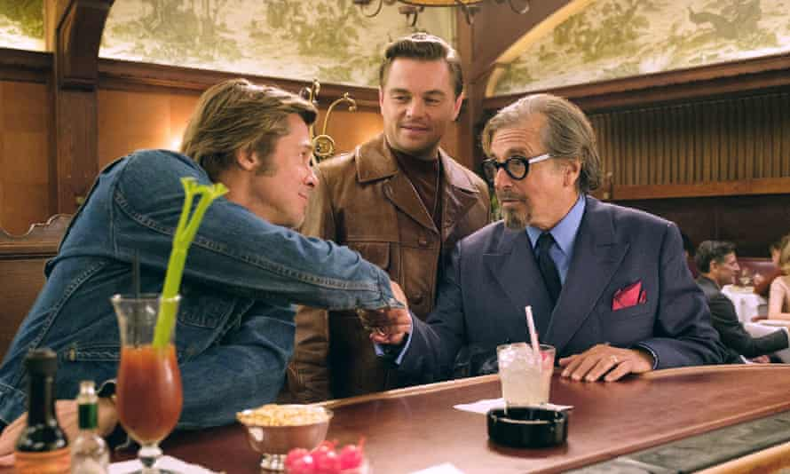 Brad Pitt, left, Leonardo DiCaprio and Al Pacino in Once Upon a Time in Hollywood.