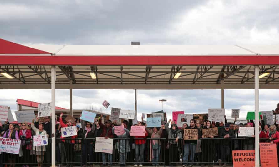 Demonstrators at anti-Donald Trump travel ban protests outside Hartsfield-Jackson Atlanta International Airport in Atlanta.