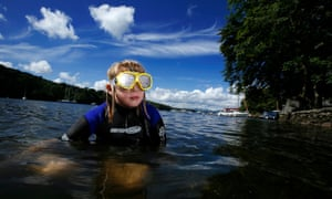 Swimming at Fell Foot in Lake Windermere, Cumbria.
